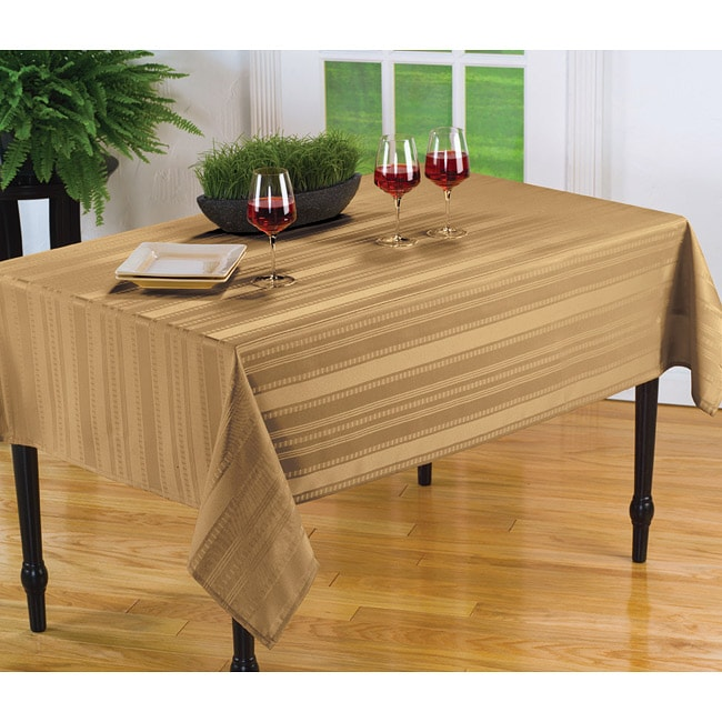 Divine Stripe Spill Proof Gold 60x84 Inch Oval Tablecloth