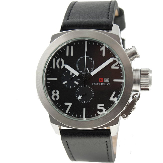 Republic Men's Leather Strap Chronograph Watch