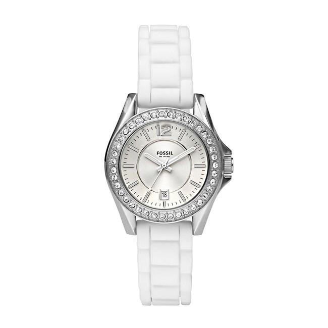Fossil Women's Mini 'Riley' Silicone Strap White Dial Watch