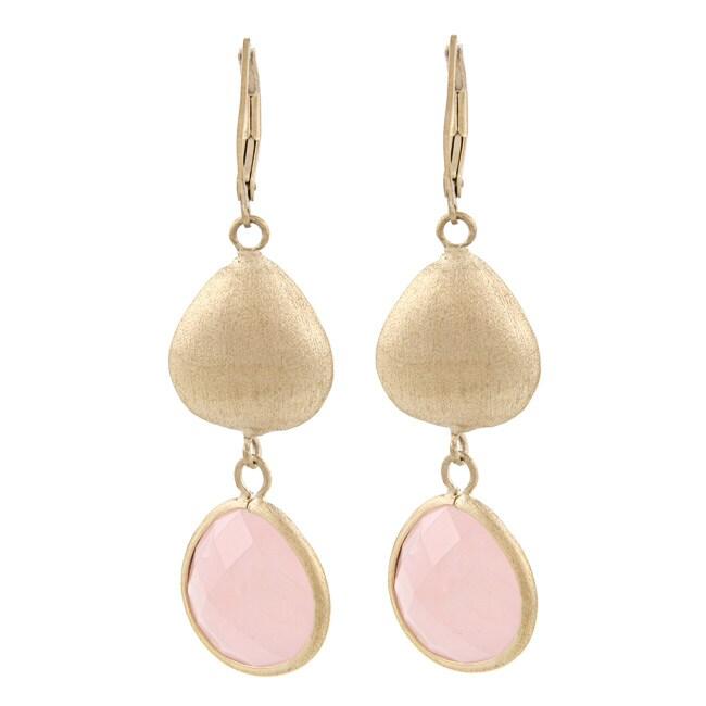 Rivka Friedman Gold Overlay Rose Quartz Earrings (Rivka F...