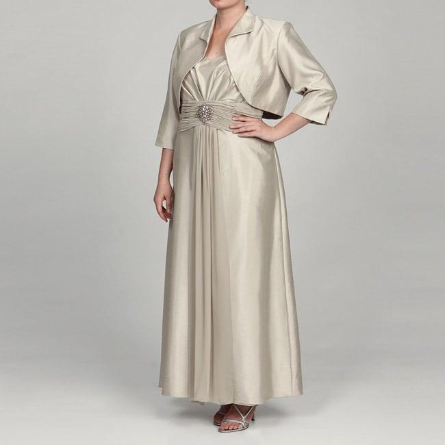 Jessica Howard Womens Plus size 2 piece Shantique Jacket Dress