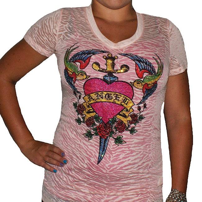 LACulture Women's Cotton-blend Rhinestone Burnout Heart Top