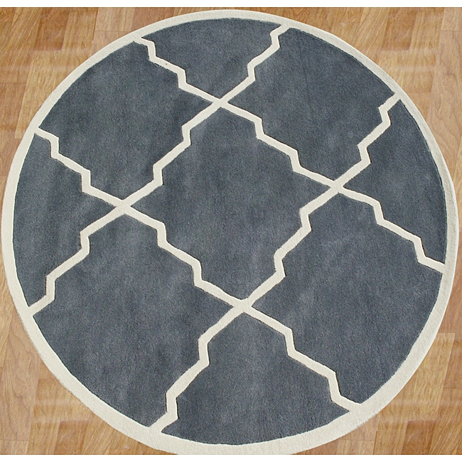 Alliyah Handmade Bluish-Grey New Zealand Blend Wool Rug (6' Round) - Thumbnail 0