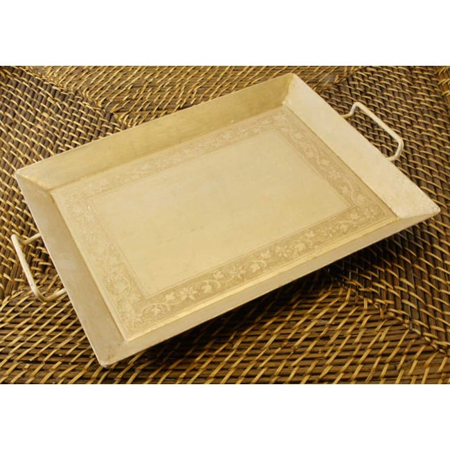 Graphic Tray Handcrafted From Ivory And: Shop Handmade Wrought Iron Hand-painted Ivory Tray (India