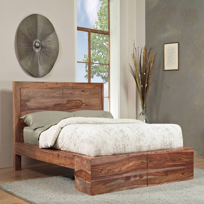 shop sheesham solid wood king size panel bed free shipping today 6099023. Black Bedroom Furniture Sets. Home Design Ideas