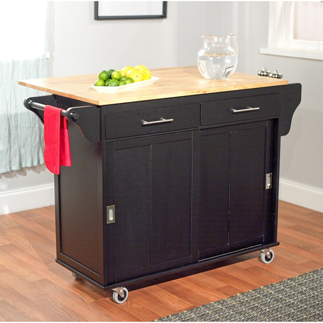 Simple Living Wooden Drop Leaf and Sliding Doors Kitchen Cart