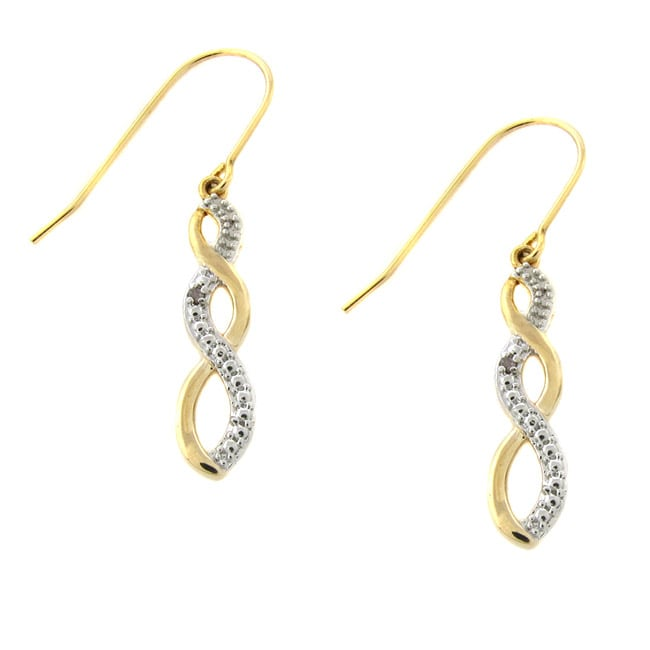 18k Yellow Gold over Silver Diamond Accent Infinity Design Earrings