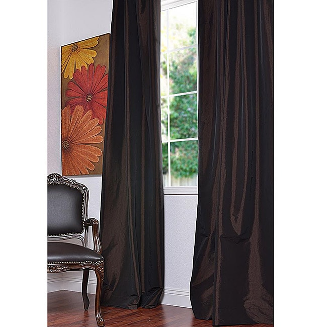 Exclusive Fabrics Java Faux Silk Taffeta 96-inch Curtain Panel