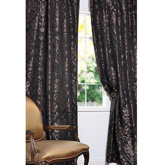 Exclusive Fabrics Black/ Bronze Patterned Faux Silk Jacquard 108-inch Curtain Panel