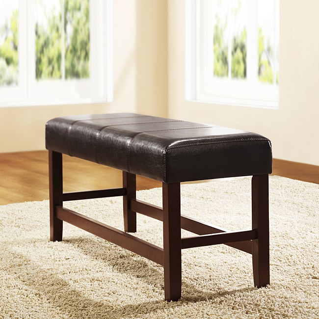 Toress Dark Brown Faux Leather Cushioned 40-inch Bench