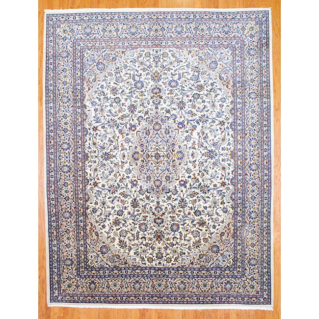 Shop Persian Hand Knotted Ivory Beige Kashan Wool Rug 9