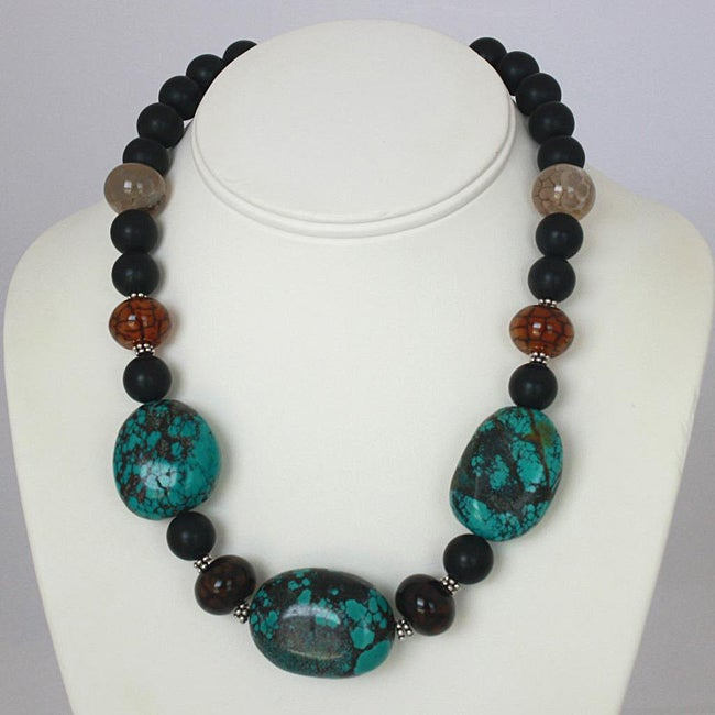 Silver and Pewter Genuine Turquoise, Agate and Onyx Necklace (USA)