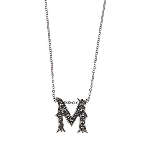 MARC Sterling Silver Marcasite Initial 'M' Necklace