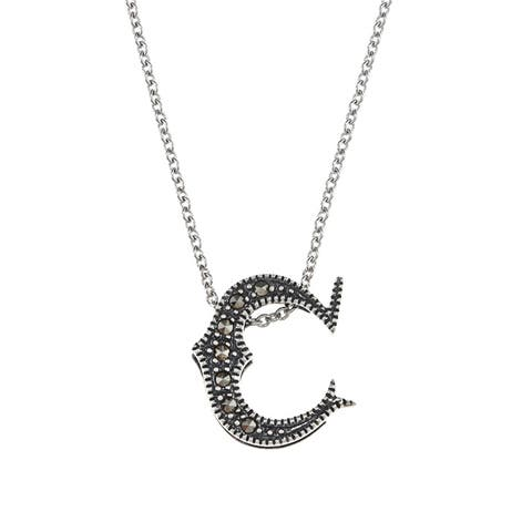 MARC Sterling Silver Marcasite Initial 'C' Necklace