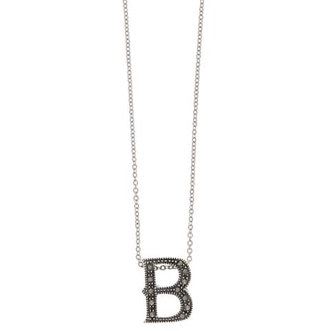 MARC Sterling Silver Marcasite Initial 'B' Necklace