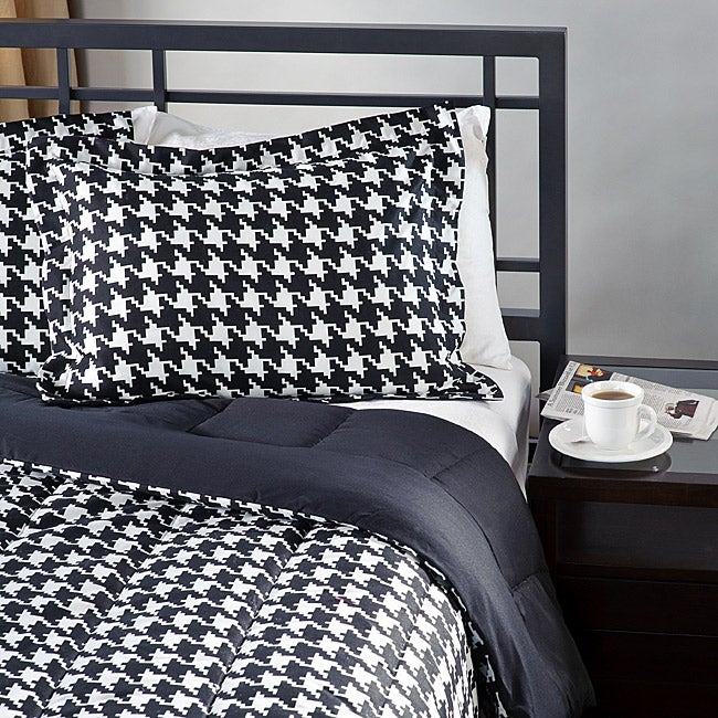 White/ Black Houndstooth Twin-size 2-piece Comforter Set