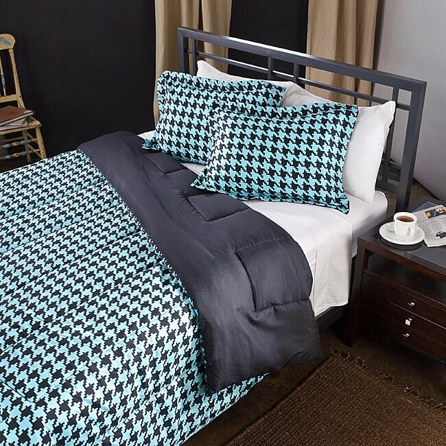 Aqua/ Black Houndstooth Full/ Queen-size Comforter Set
