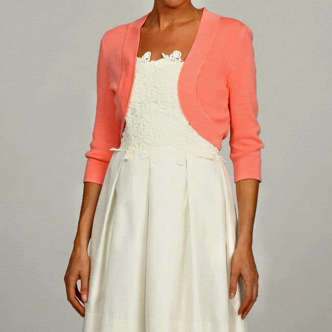 2d68f818d78 Shop Eliza J Women s Coral 3 4-sleeve Bolero Sweater FINAL SALE - Free  Shipping On Orders Over  45 - Overstock - 6128614