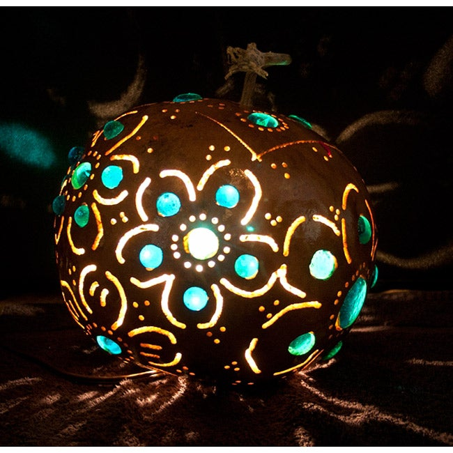 Shop Gourd Green Floral Tabletop Lamp Mexico Free