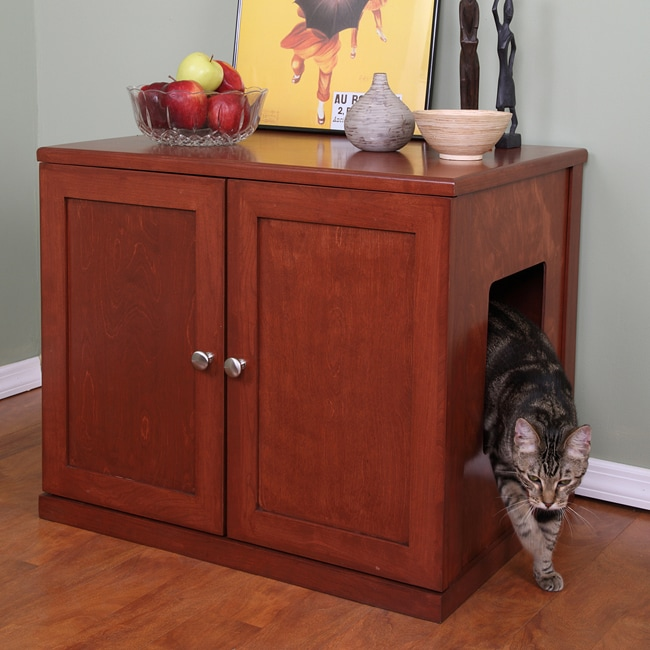 The Refined Feline Honey Wooden Litter Box