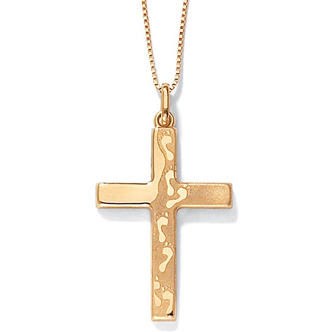 8845a09432f0a1 Shop 14k Yellow Gold Footprints Cross Pendant - Free Shipping Today -  Overstock - 6131509