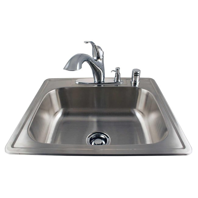 drop in stainless kitchen sink and chrome faucet combo