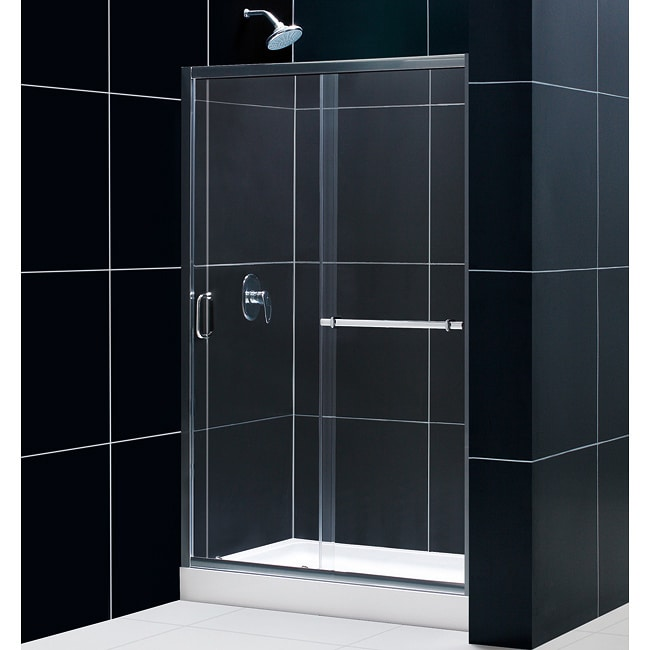 DreamLine Tub To Shower Kit Infinity Plus Shower Door and Trio Shower Base