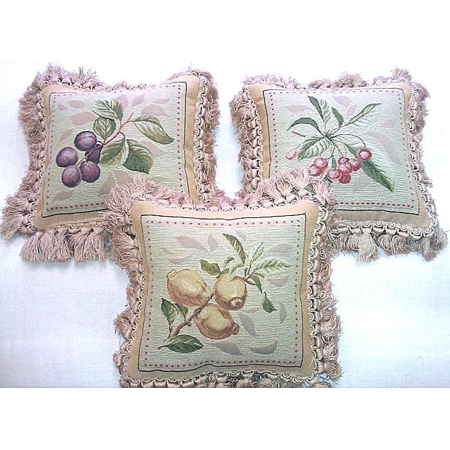 French-woven Fruit Decorative Pillows (3 piece set)