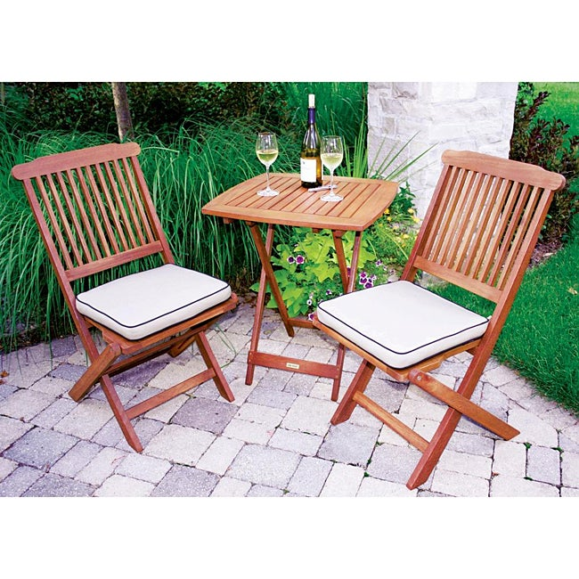 Tan Seat Cushion And 3 Piece Square Bistro Set Free Shipping Today Overst
