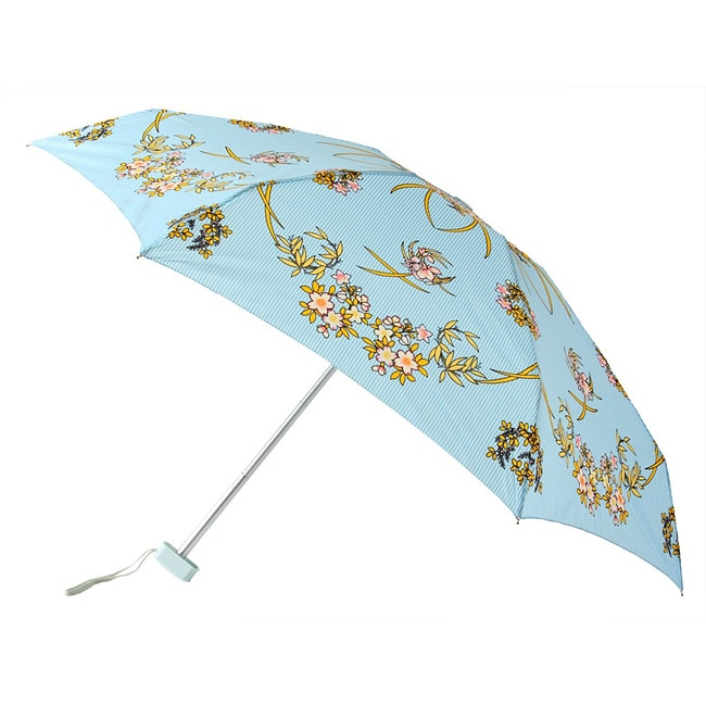 Leighton 41-inch Blue Floral Compact Umbrella