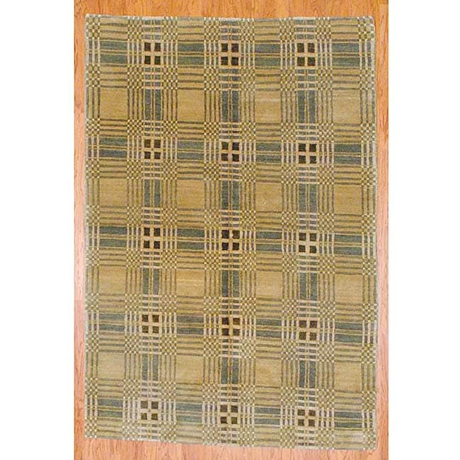 Tibetan Hand-knotted Beige/ Green Wool Rug (6' x 8'9) - Thumbnail 0