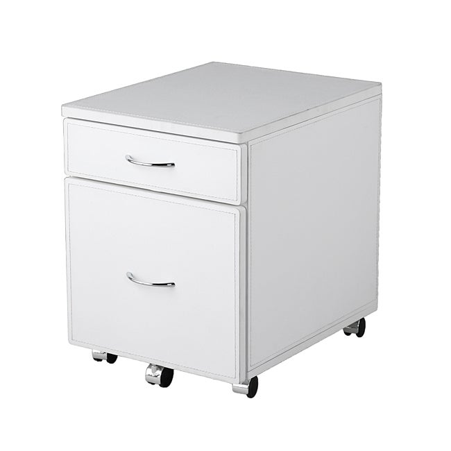 Laurence White Leather Filing Cabinet Free Shipping Today 6141728