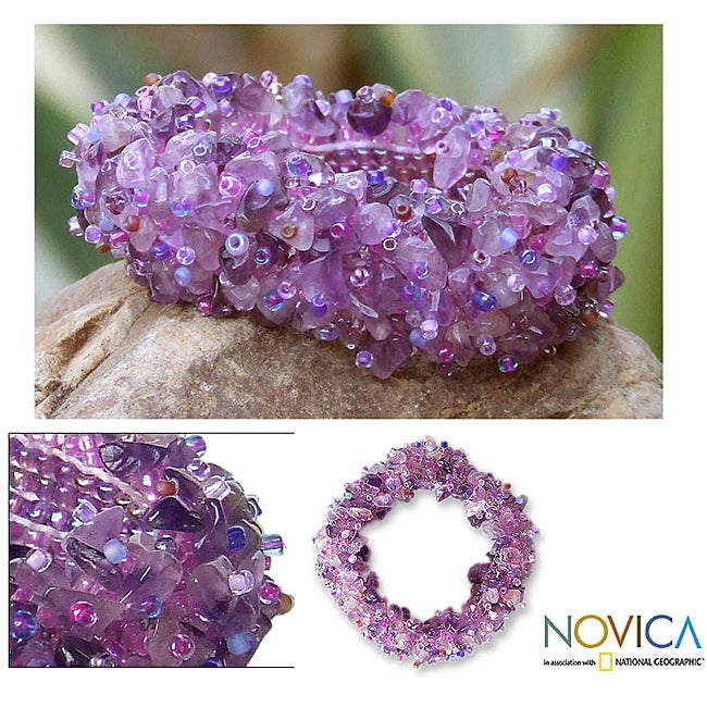 Handcrafted Amethyst 'Violet Garland' Stretch Bracelet (Thailand) - Thumbnail 0
