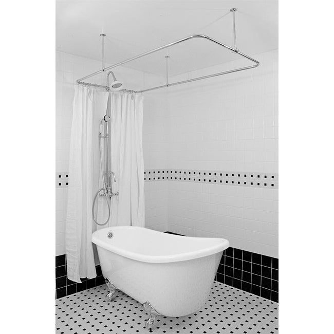 Spa Collection 58-inch Swedish Slipper Clawfoot Tub and Shower Pack