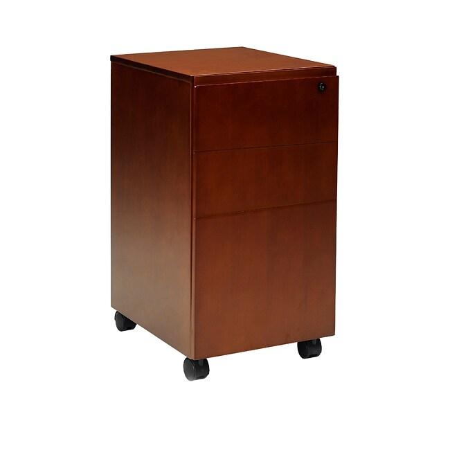 Mayline Brown Wood Stella Series Five-caster Mobile Pedestal Box