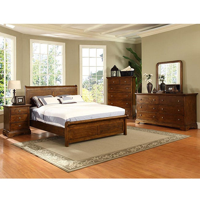 chateau luxe birch wood 4 piece queen size bedroom set