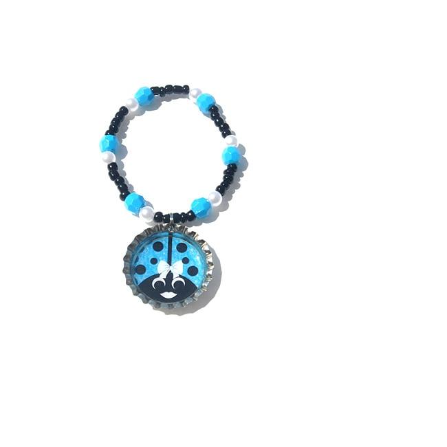 Turquoise Ladybug Bottle Cap Charm Bracelet