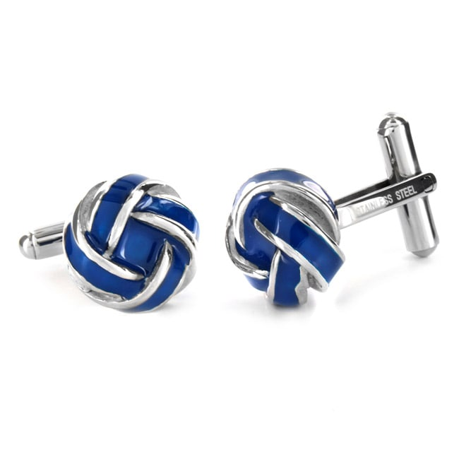 West Coast Jewelry Stainless Steel Blue and White Knot Style Cuff Links