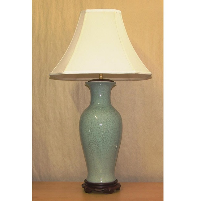 Light Blue Porcelain Crackle Table Lamp - Thumbnail 0