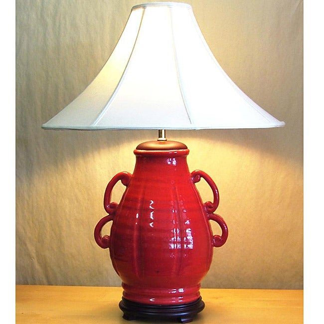 Red Double-handled Urn Ceramic Table Lamp