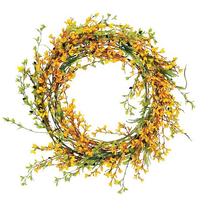 Forsythia wreath yellow - Yellow 24 Inch Forsythia Wreath Free Shipping Today