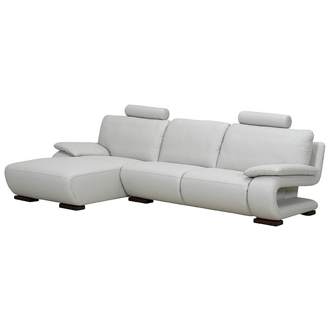 Charlotte Light Grey Leather Left Sectional Sofa