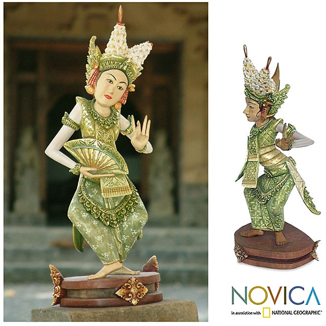 Handcrafted Crocodile Wood 'Legong Kraton Dance' Sculpture (Indonesia)