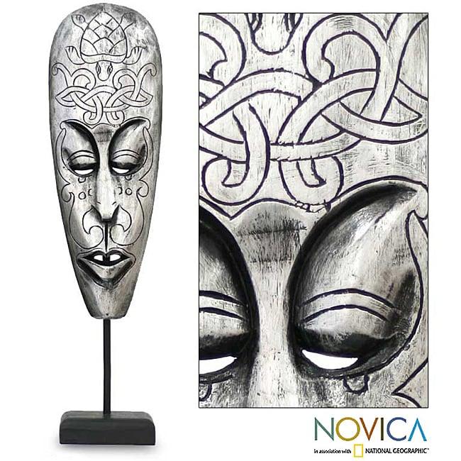 Handcrafted Albesia Wood 'Lombok Turtle' Mask (Indonesia)