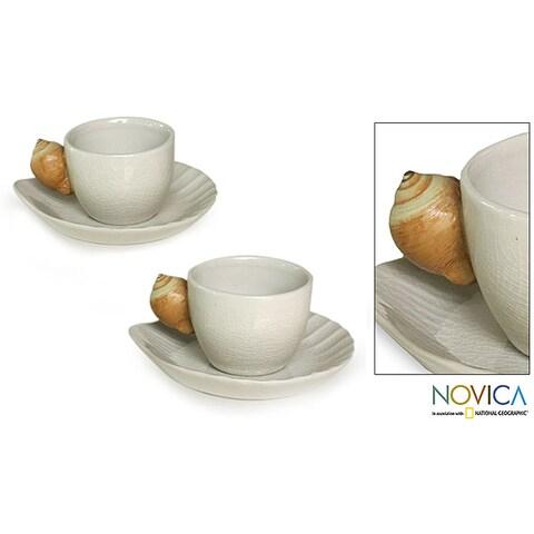Handmade Set of 2 Ceramic 'Beach' Cups and Saucers (Indonesia)