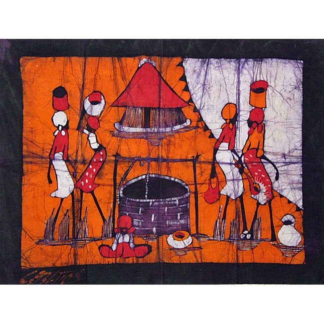 Cotton 'At the Well' Wax Batik Tapestry (Mozambique) - Thumbnail 0