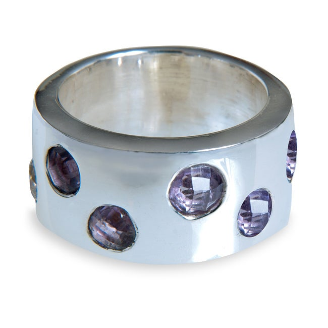 Sterling Silver Amethyst Cubic Zirconia Band (India)