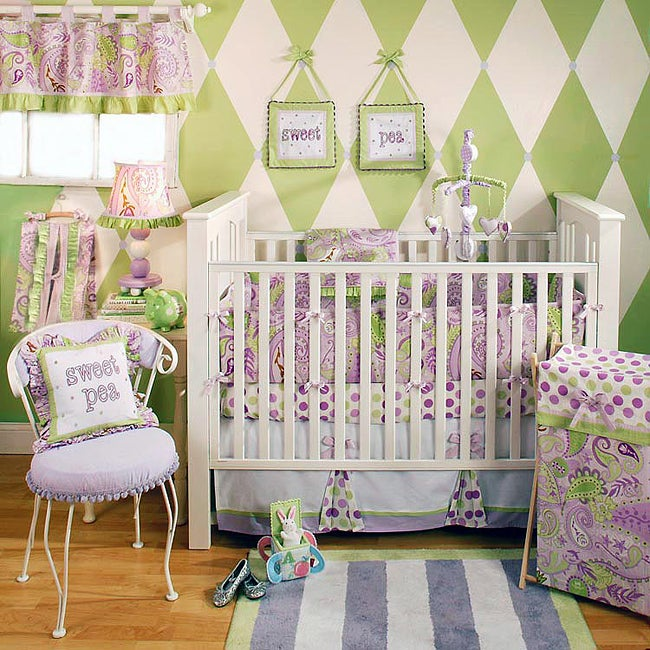 My Baby Sam Sweet Pea 4 Piece Crib Bedding Set Free