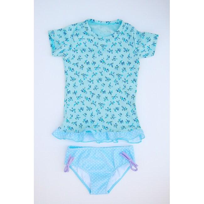 Azul Swimwear Girl's Light Blue Rash Guard Swimsuit