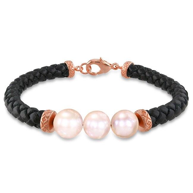 Miadora Goldtone Pink Freshwater Pearl Leather Bracelet (9-10 mm)